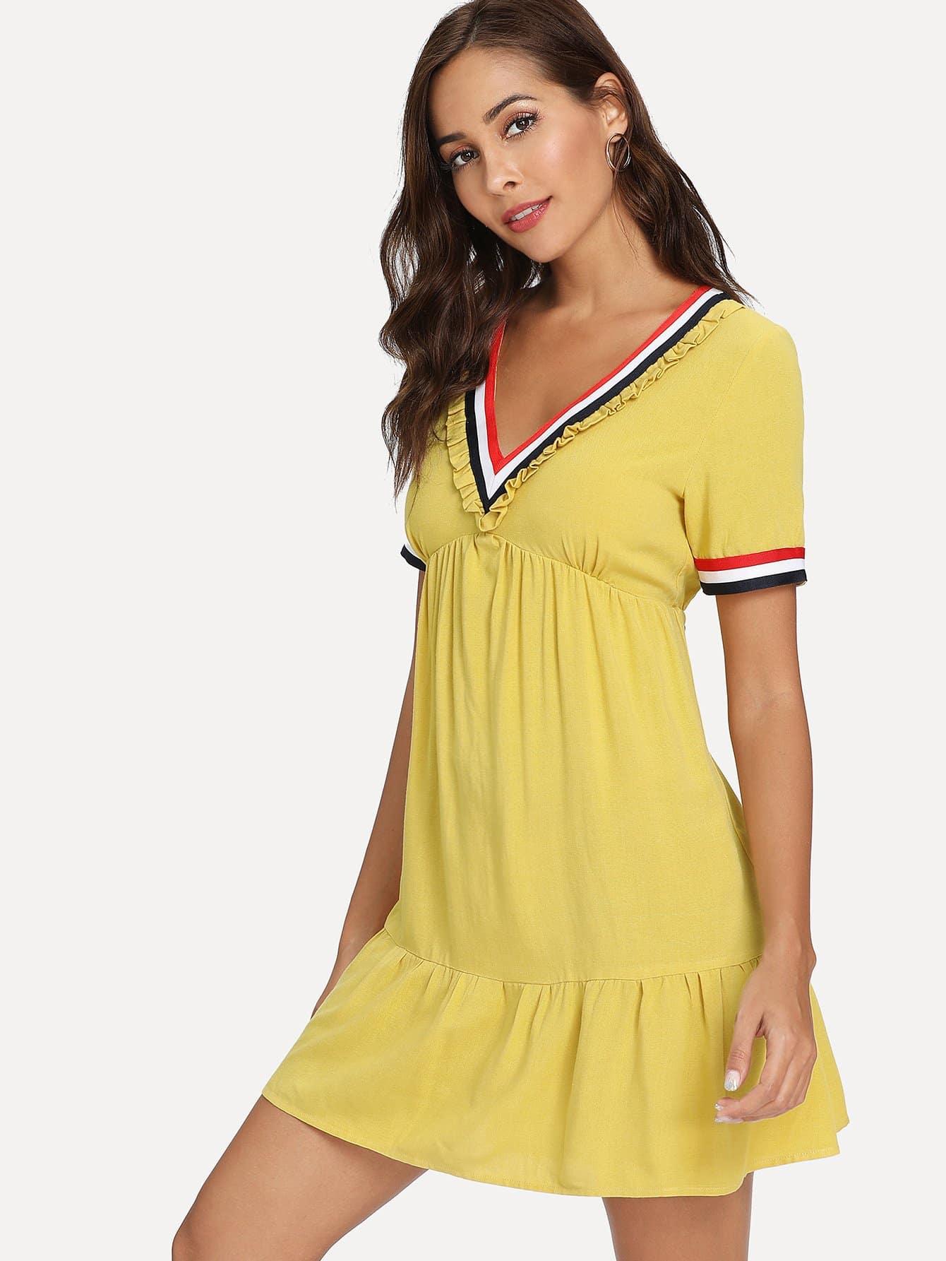Купить Контрастная лента Frill Trim Ruffle Hem Dress, null, SheIn