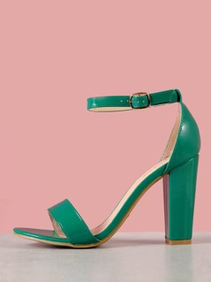 Patent Single Band Chunky Heel
