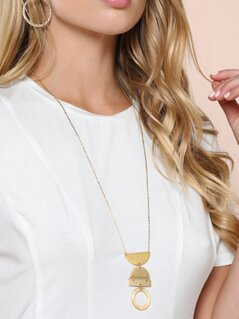 Long Stacked Pendant Gold Necklace
