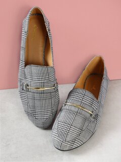 Houndstooth Plaid Print Loafers