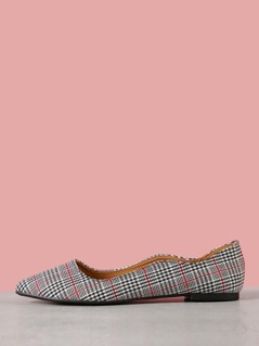 Houndstooth Plaid Print Scalloped Ballerina Flat