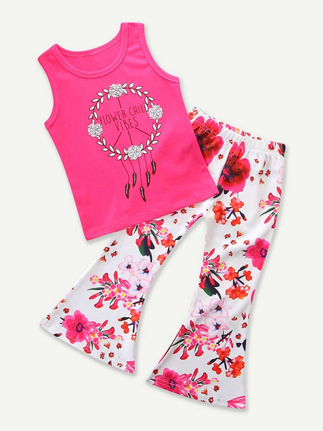 Girls Letter Print Vest With Flare Pants