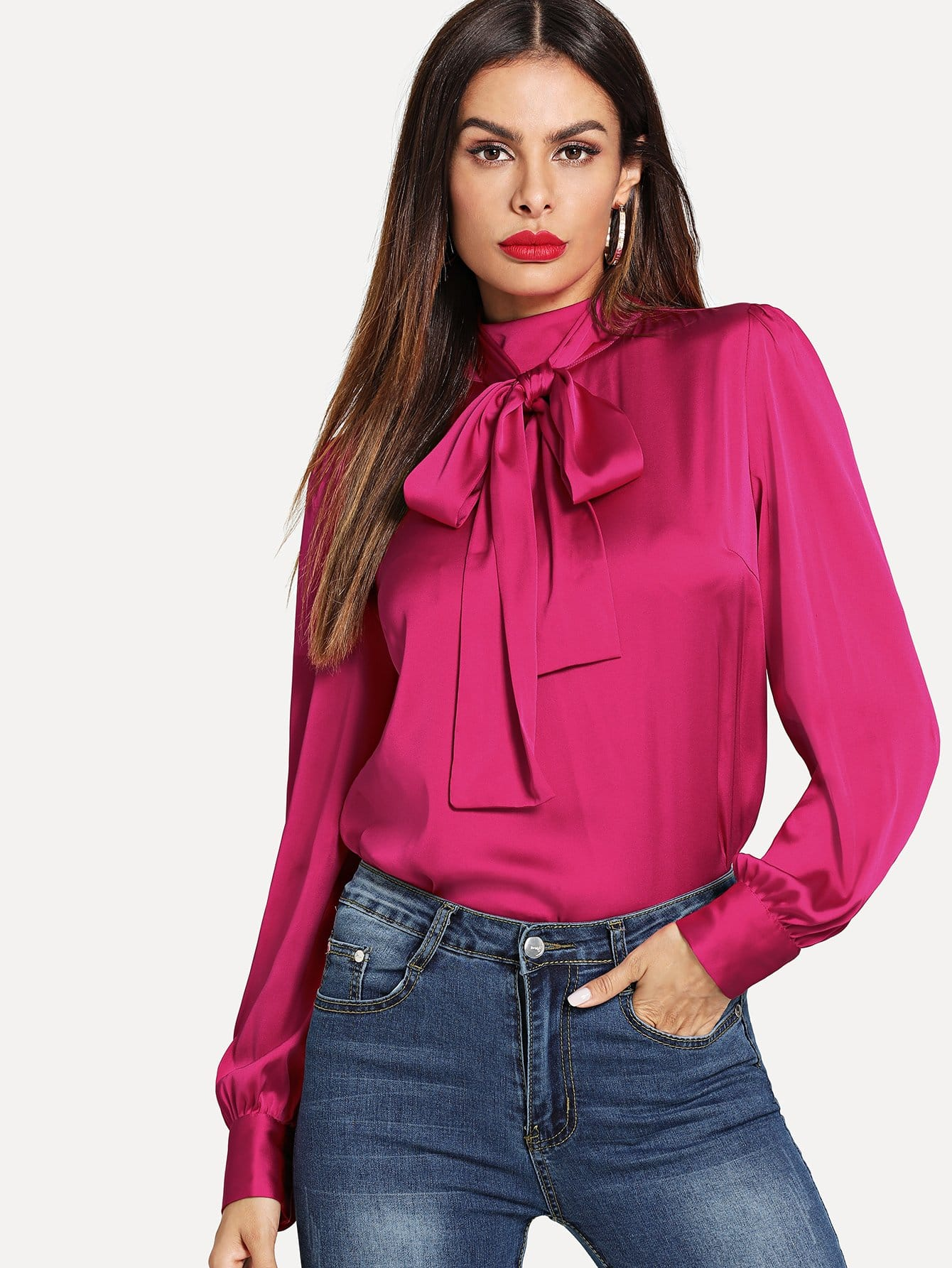 71d880a70 Neon Pink Tie Neck Buttoned Back Satin Blouse | SHEIN