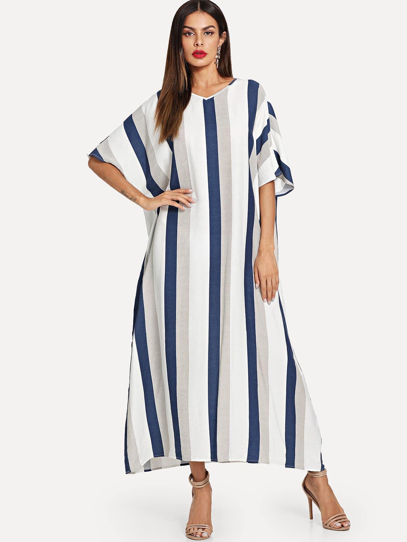 Batwing Sleeve Striped Hijab Long Dress