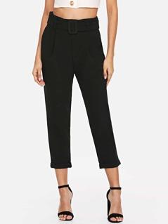 Waist Belted Pocket Solid Pants
