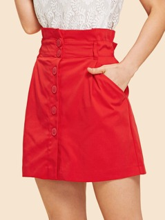 Slant Pocket Elastic Waist Button Skirt