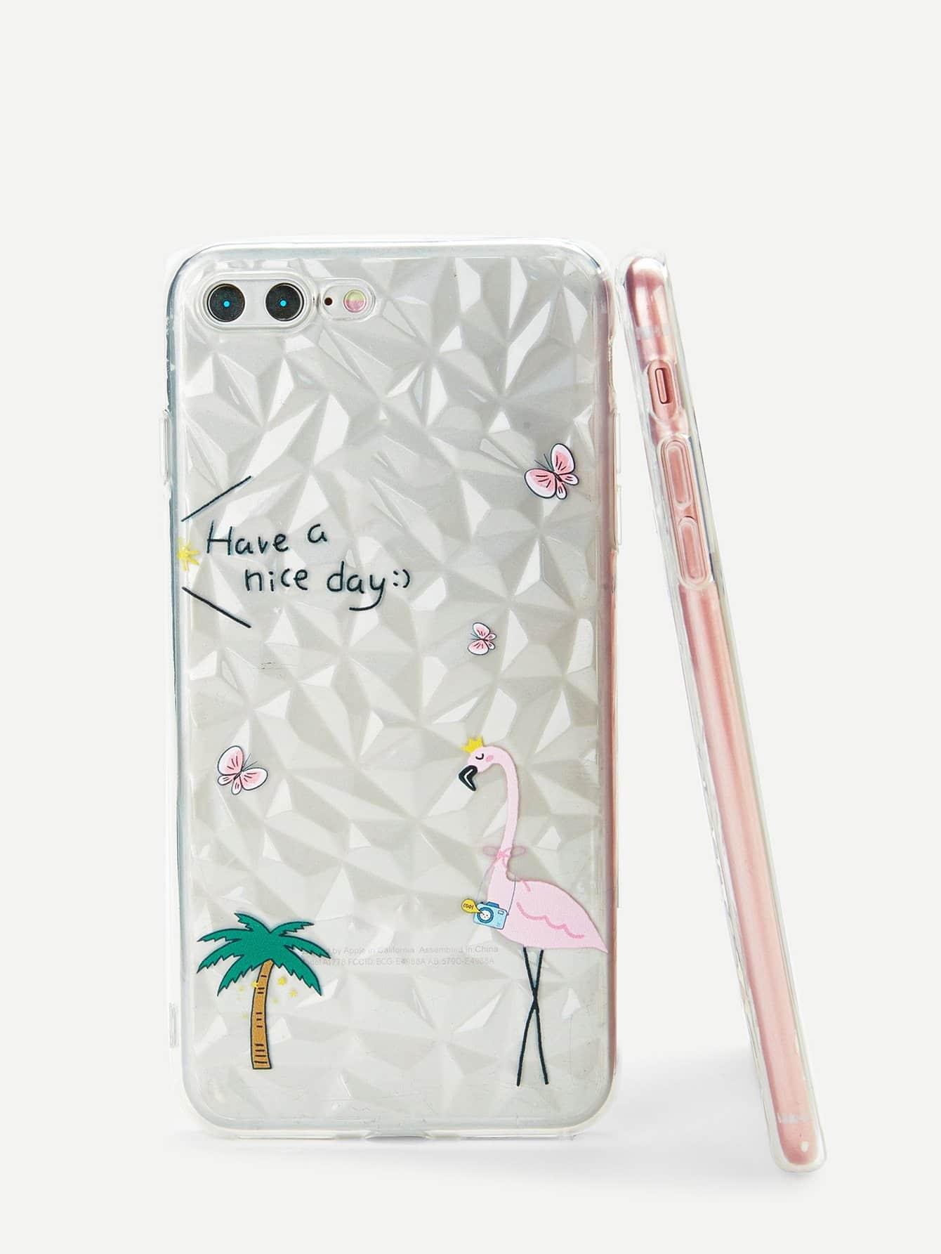 Купить Корпус сотового телефона для iPhone и с рисунками дерева и фламинга, null, SheIn