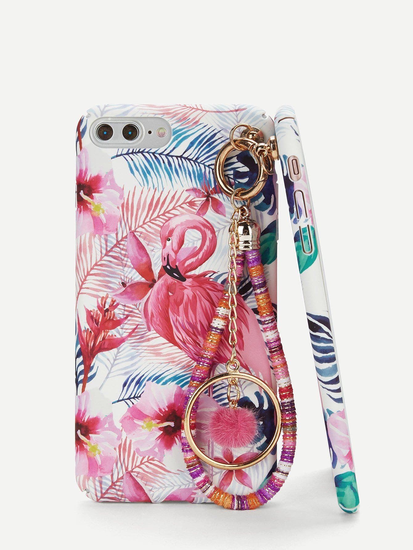 Flamingos Print iPhone Case With Charm