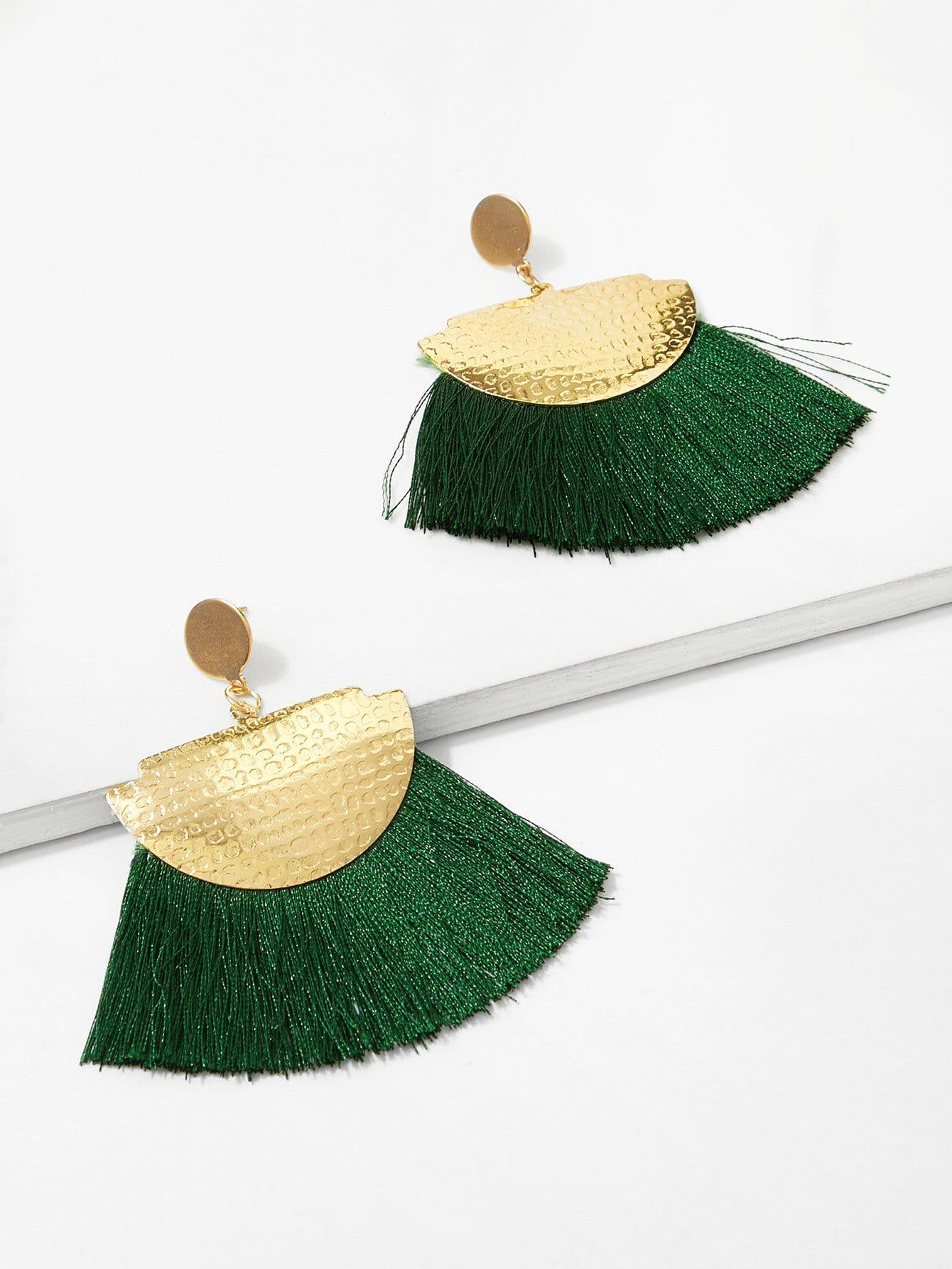 Half Round Tassel Drop Earrings