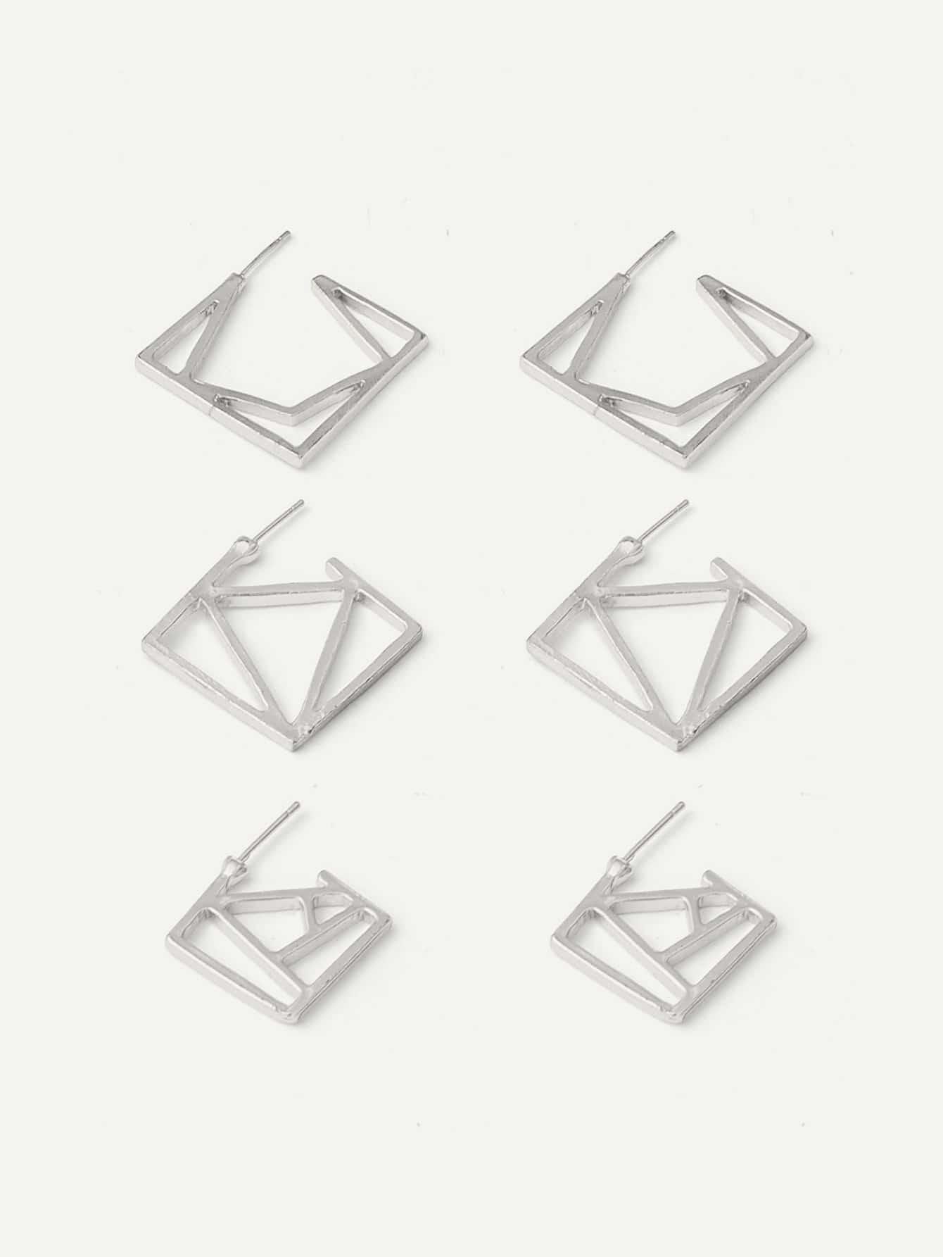 Купить Пуссеты в форме ажурного геометрия 3 пара, null, SheIn