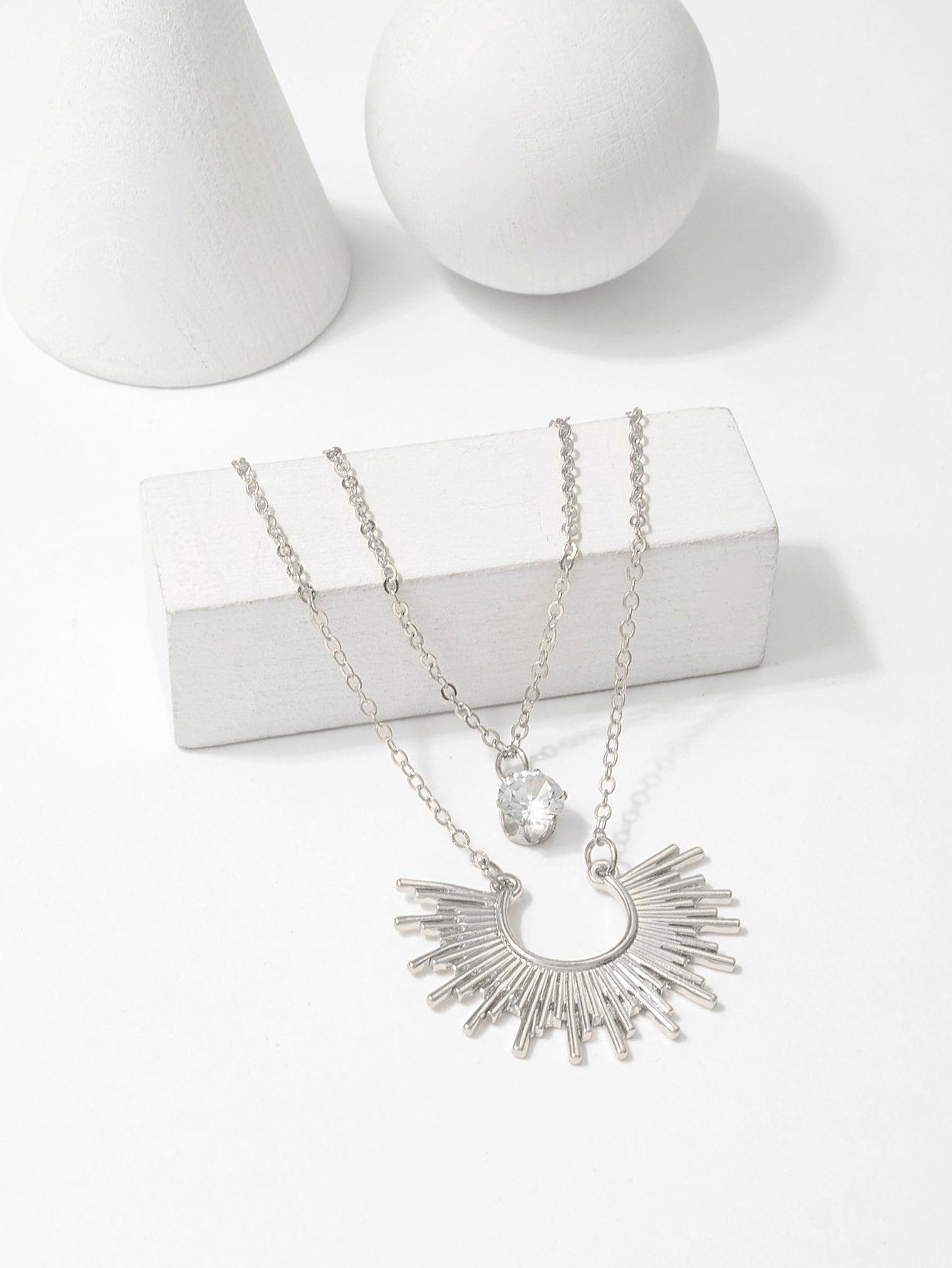 Metall Sonne Anhänger geschichtete Halskette