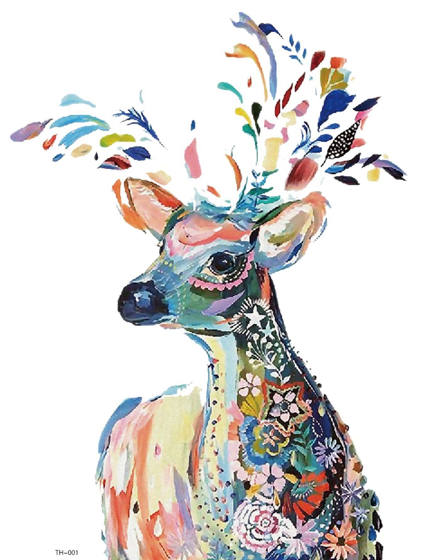 Color Block Deer Tattoo Sticker