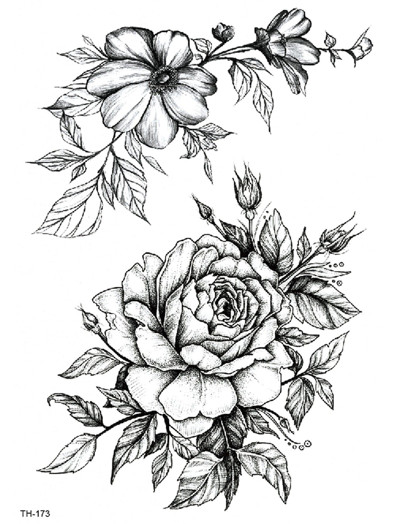 Купить Татуировки с рисунками цветов, null, SheIn
