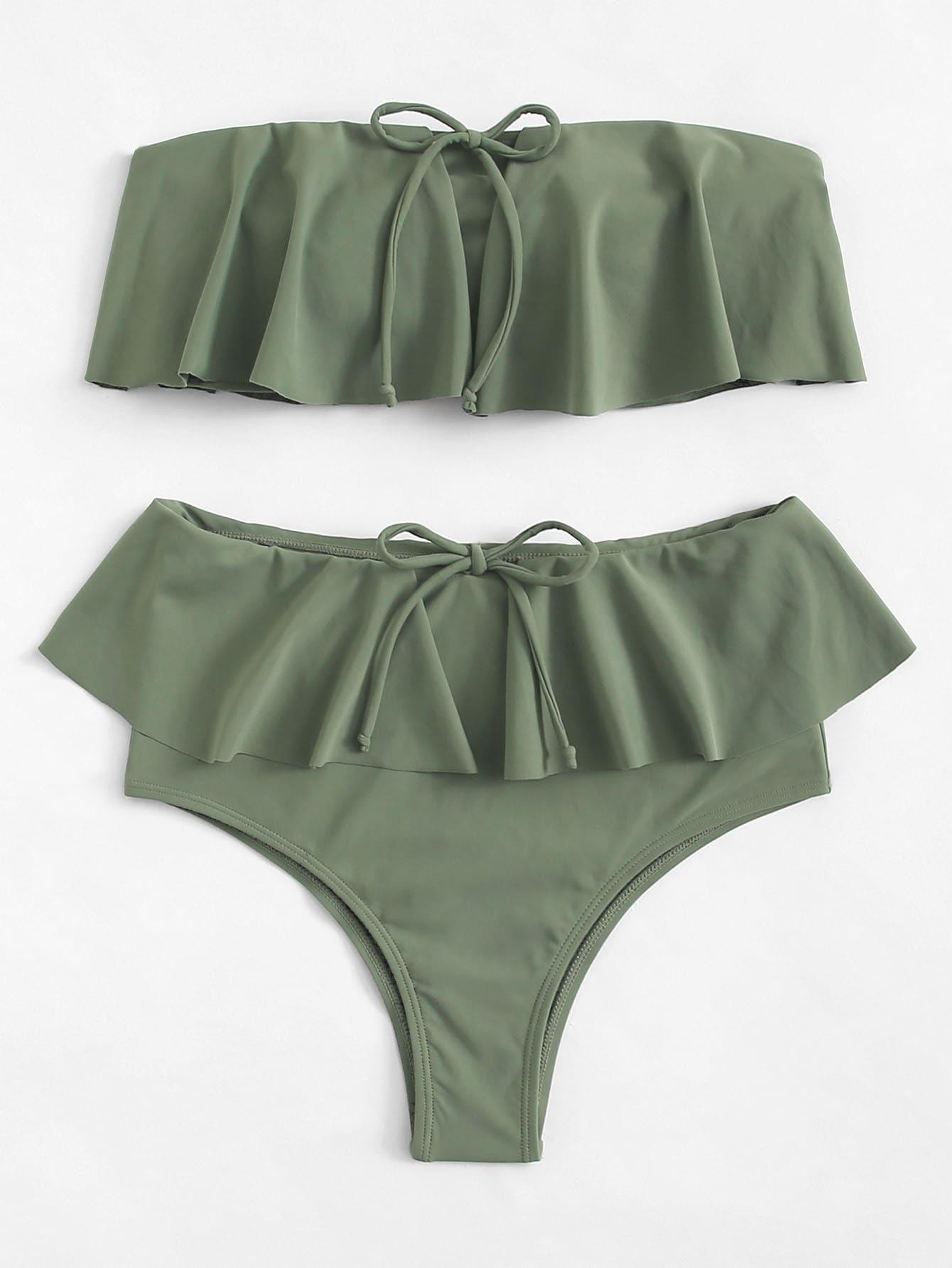 Flounce Plain Bikini Set flounce plain bikini set