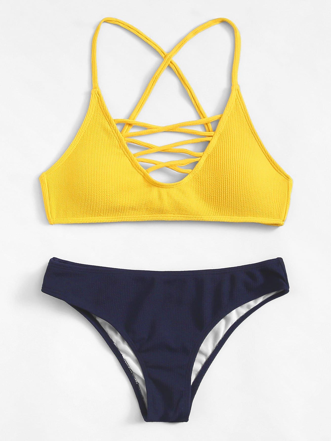 Criss Cross Two Tone Bikini Set