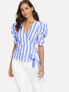 Puff Sleeve Striped Wrap Top
