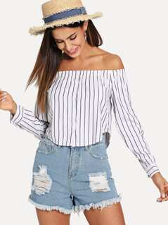 Button Detail Striped Curved Hem Bardot Top