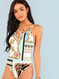 Chain Print Skinny Bodysuit