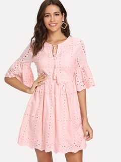 Tie Neck Eyelet Embroidered Smock Dress