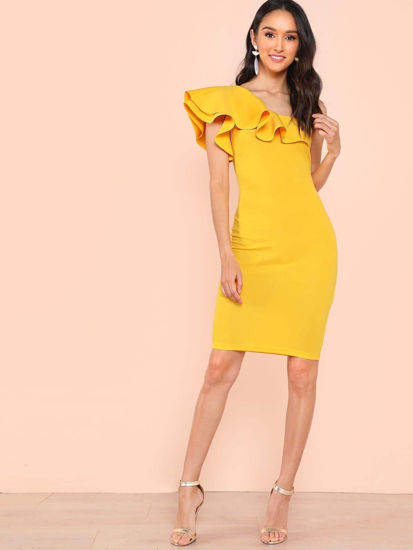 Купить Платье коктейльное из плеча, Brianna Garcia, SheIn
