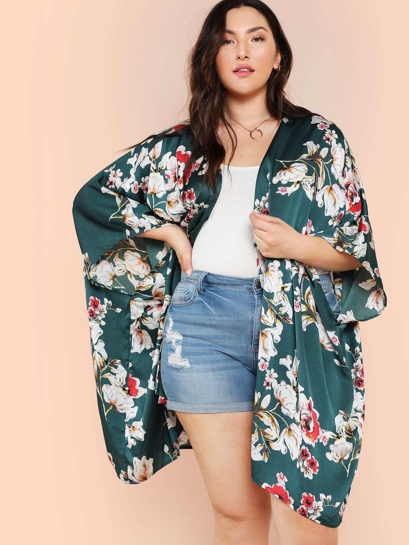 Купить Цветочный кимоно Batwing Sleeve, Brianna Marquez, SheIn