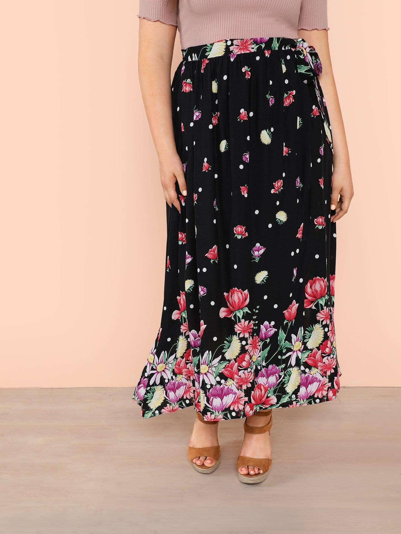 Plus Tie Waist Floral Skirt платье yumi yumi платье