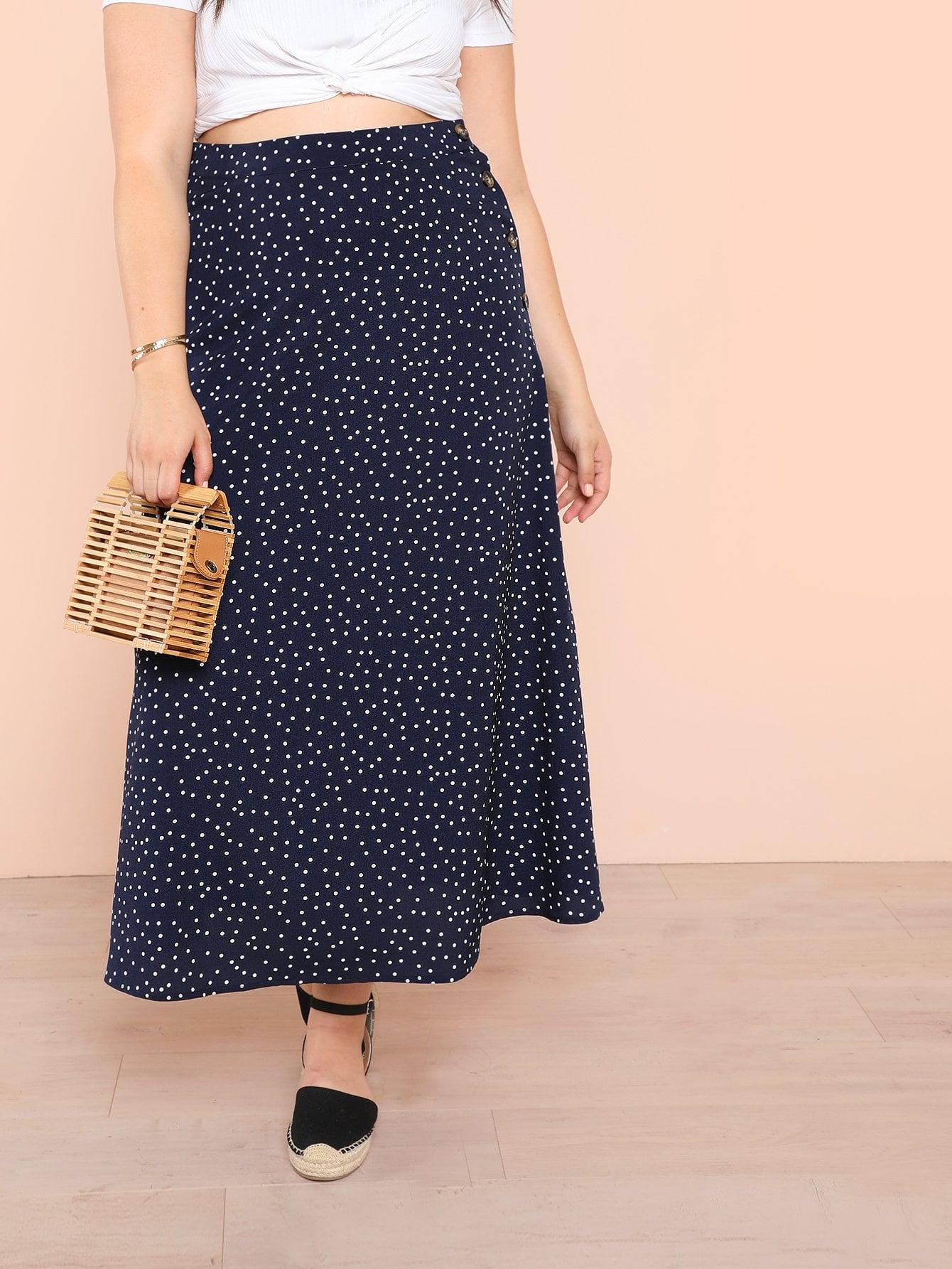 Plus Polka Dot Button Side Wrap Skirt платье yumi yumi платье