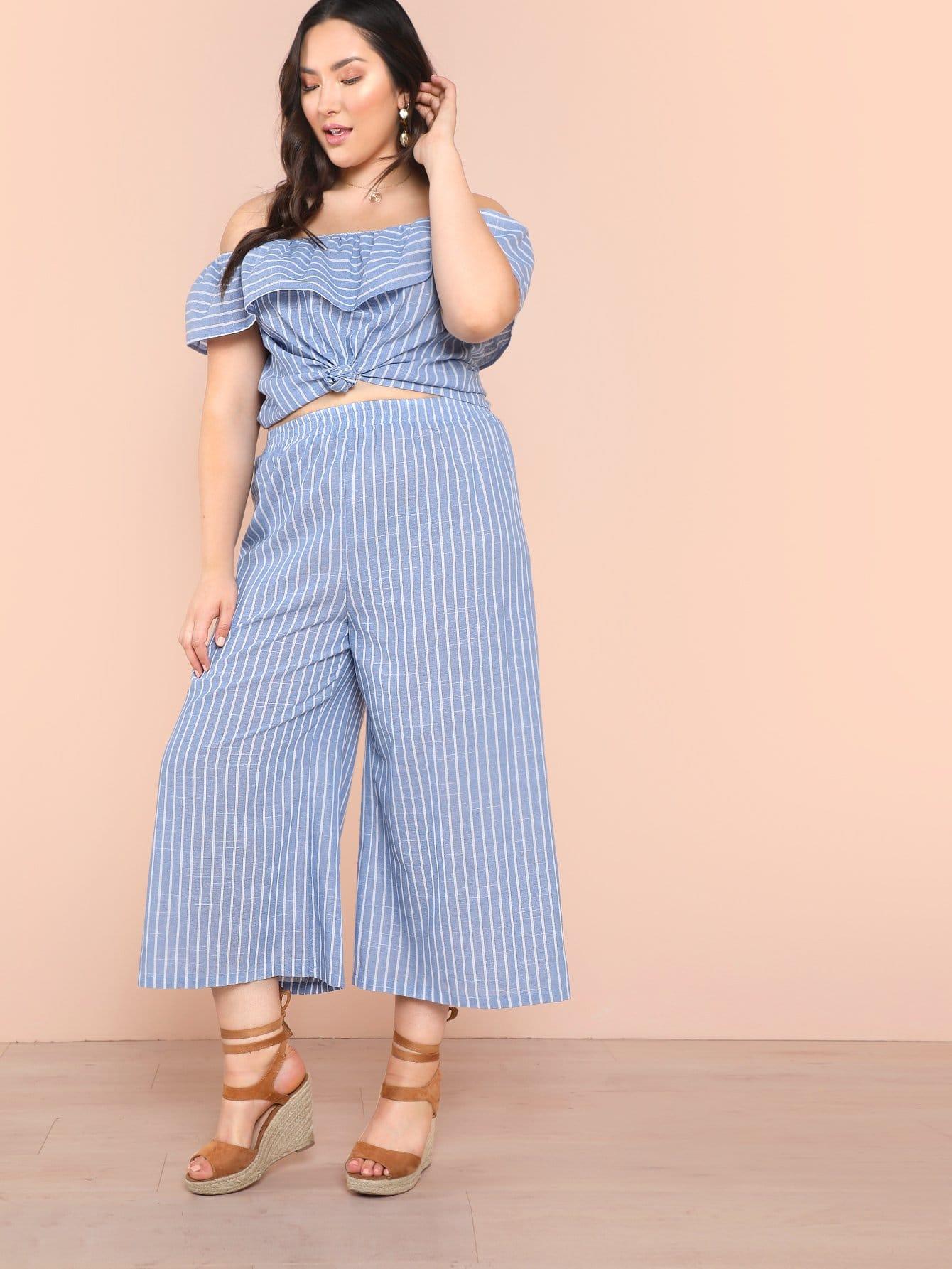 Plus Knot Hem Foldover Bardot Top & Wide Leg Pants Set edith marquez feria juarez