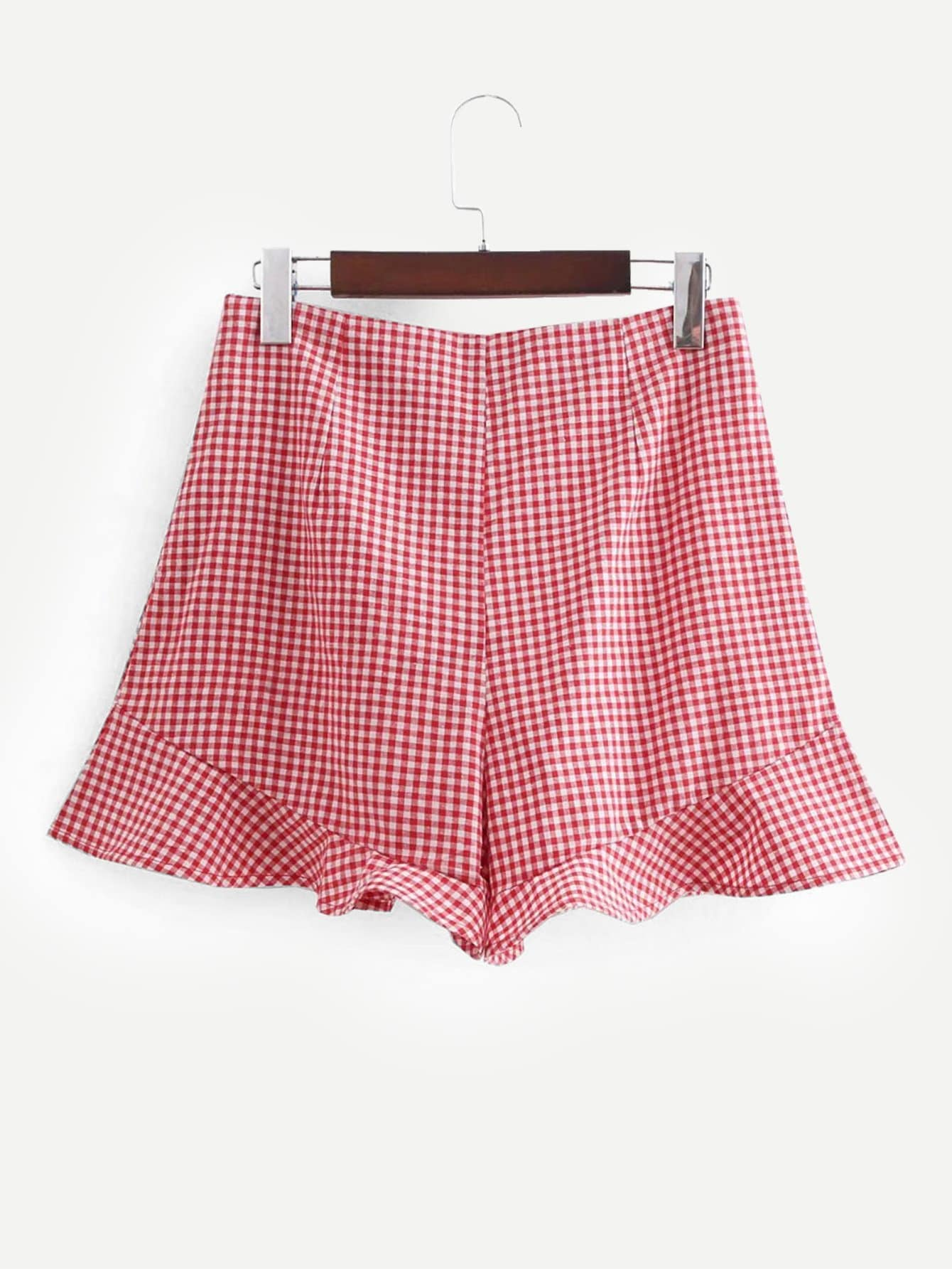 Ruffle Hem Gingham Shorts ruffle hem solid shorts