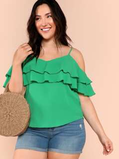 Cold Shoulder Ruffle Top