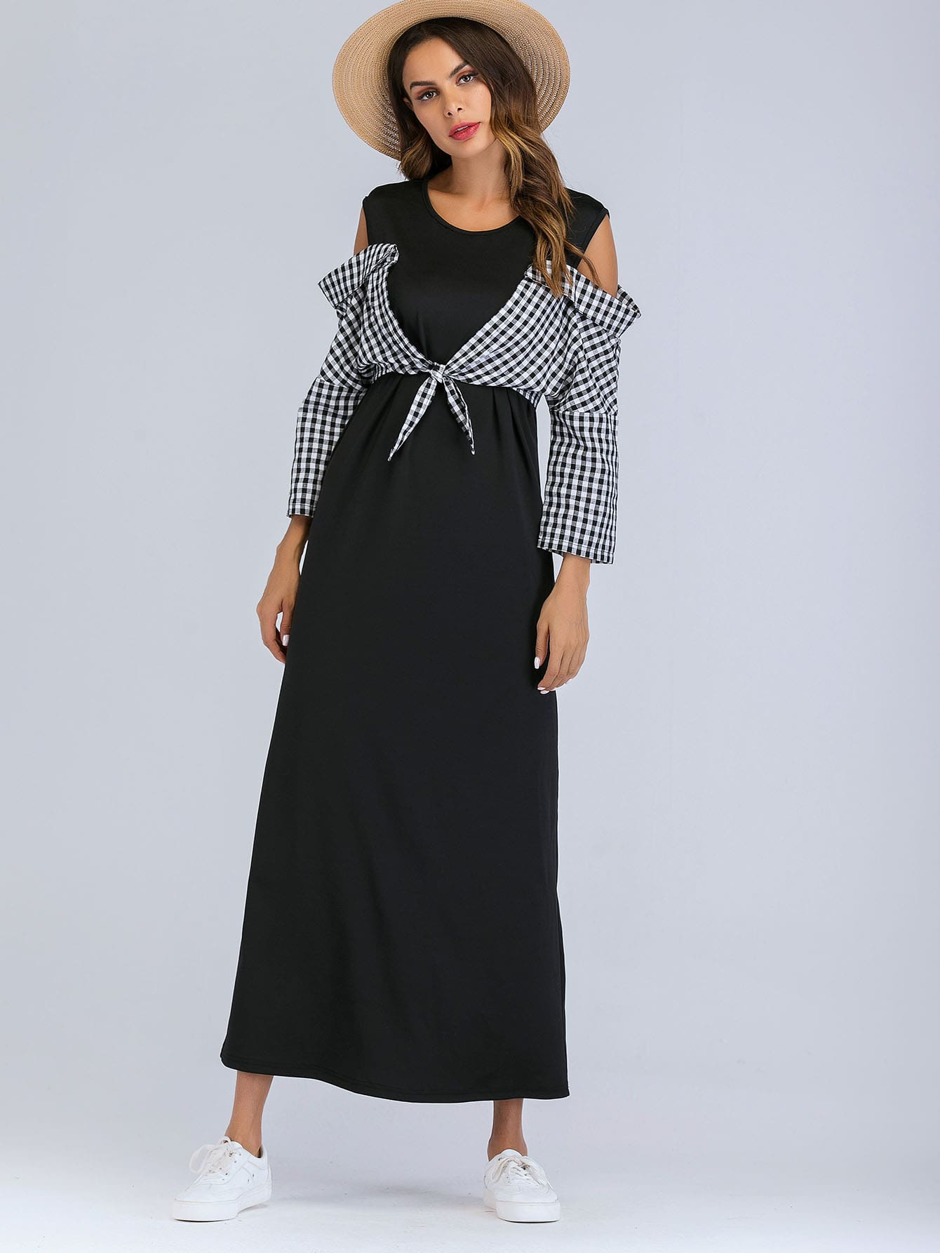 Open Shoulder Contrast Plaid Knot Dress