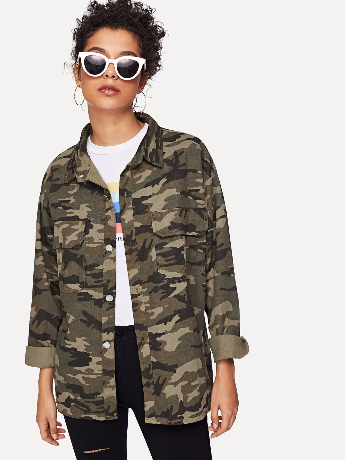 Pocket Front Camo Denim Jacket camo insert faux fur trim denim jacket