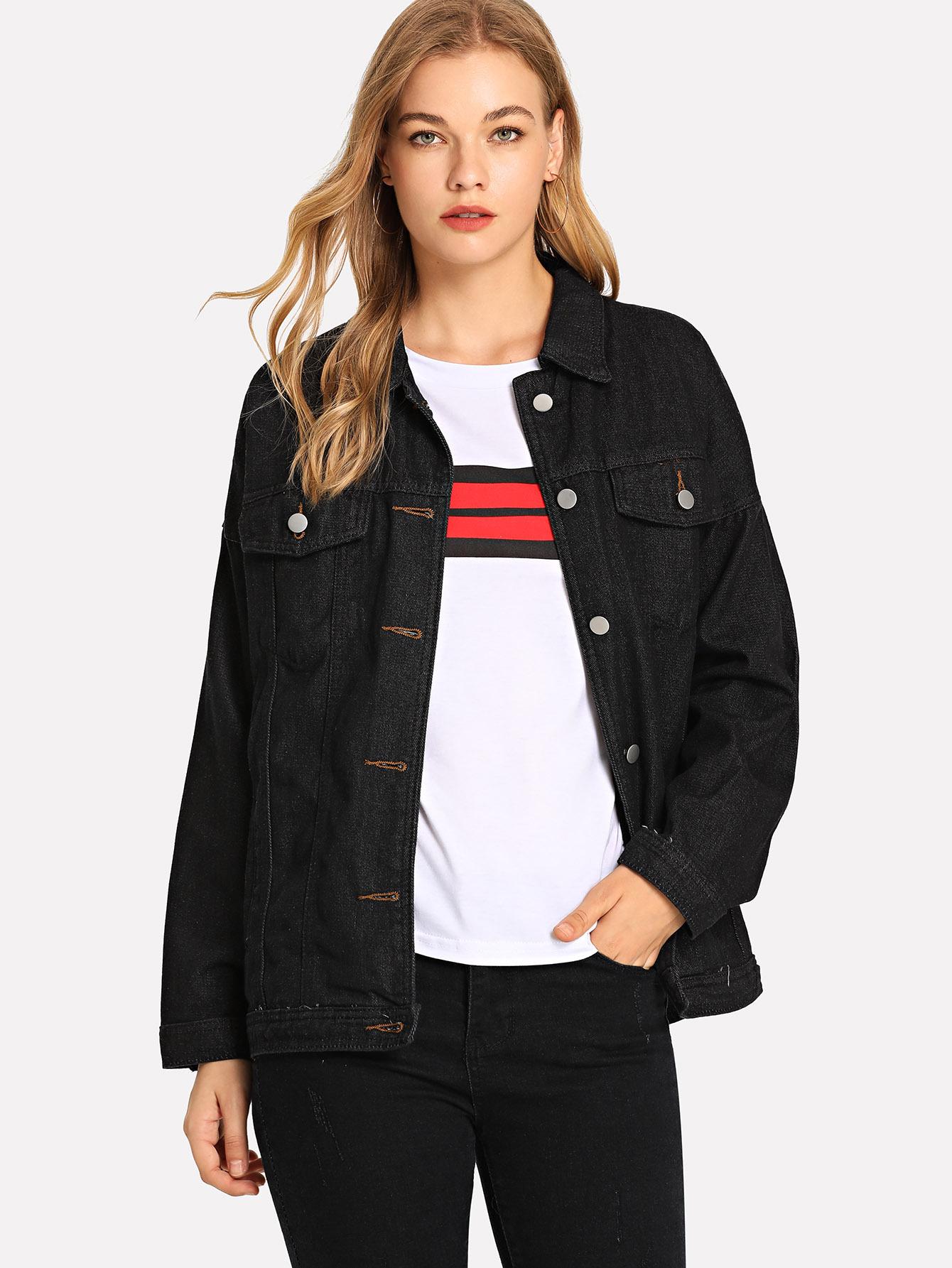 Купить Простая джинсовая куртка и с украшением пуговицы перед одежды, Teresa, SheIn
