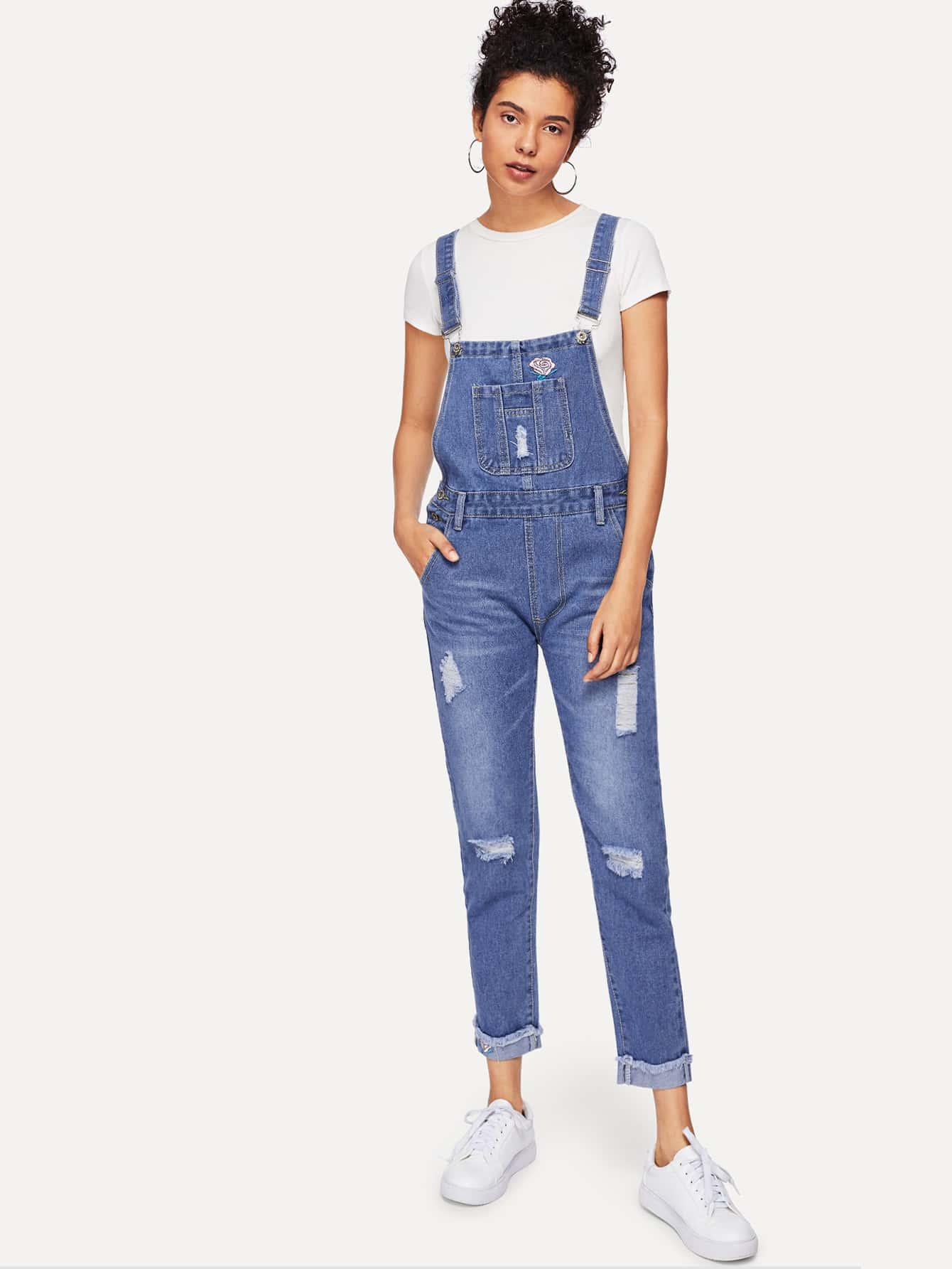 Купить Рваный джинсовый комбинезон и с рисунками цветов вышивки, Starl Lane, SheIn