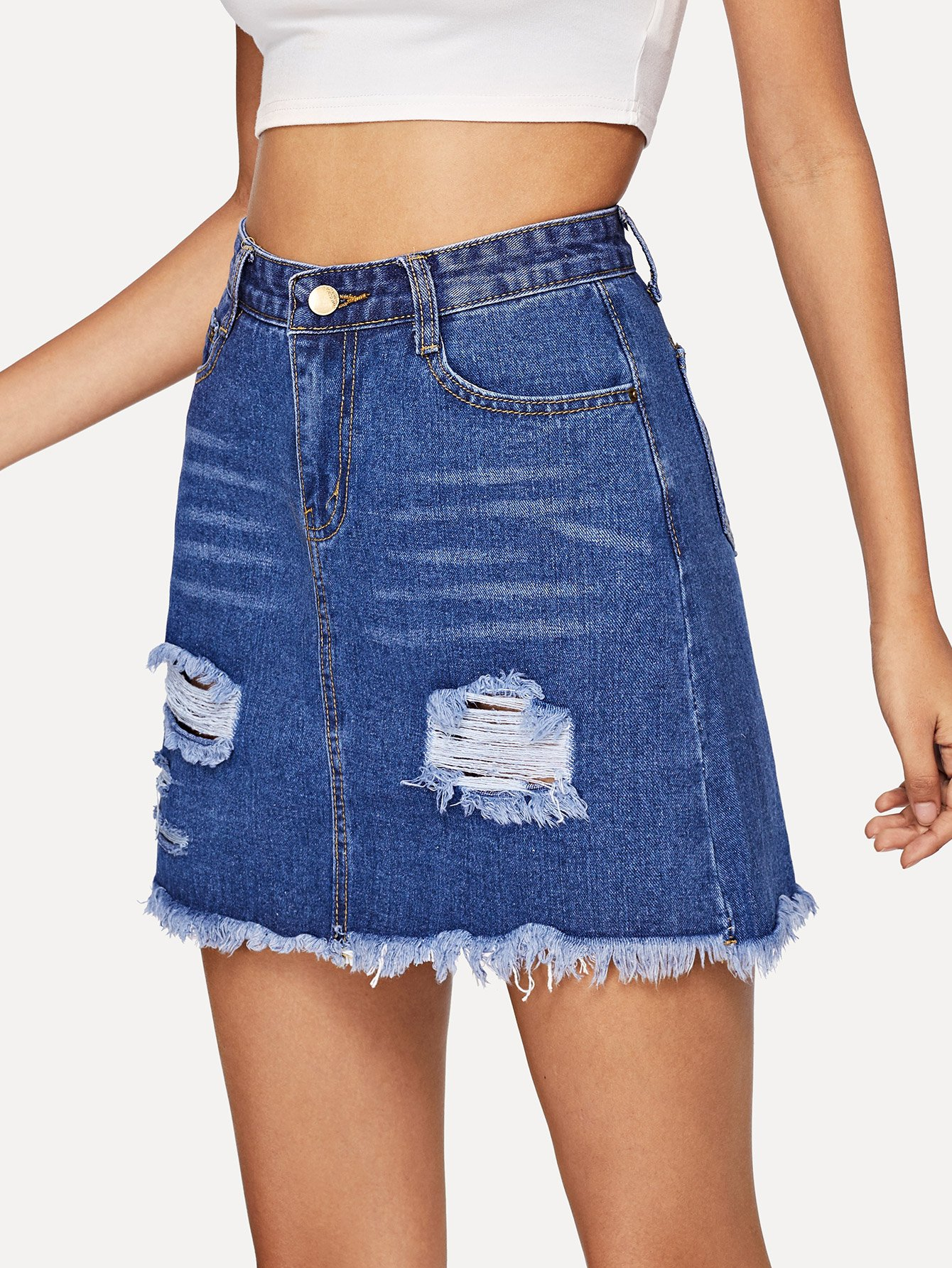 Ripped Raw Hem Denim Skirt girls single breasted raw hem skirt