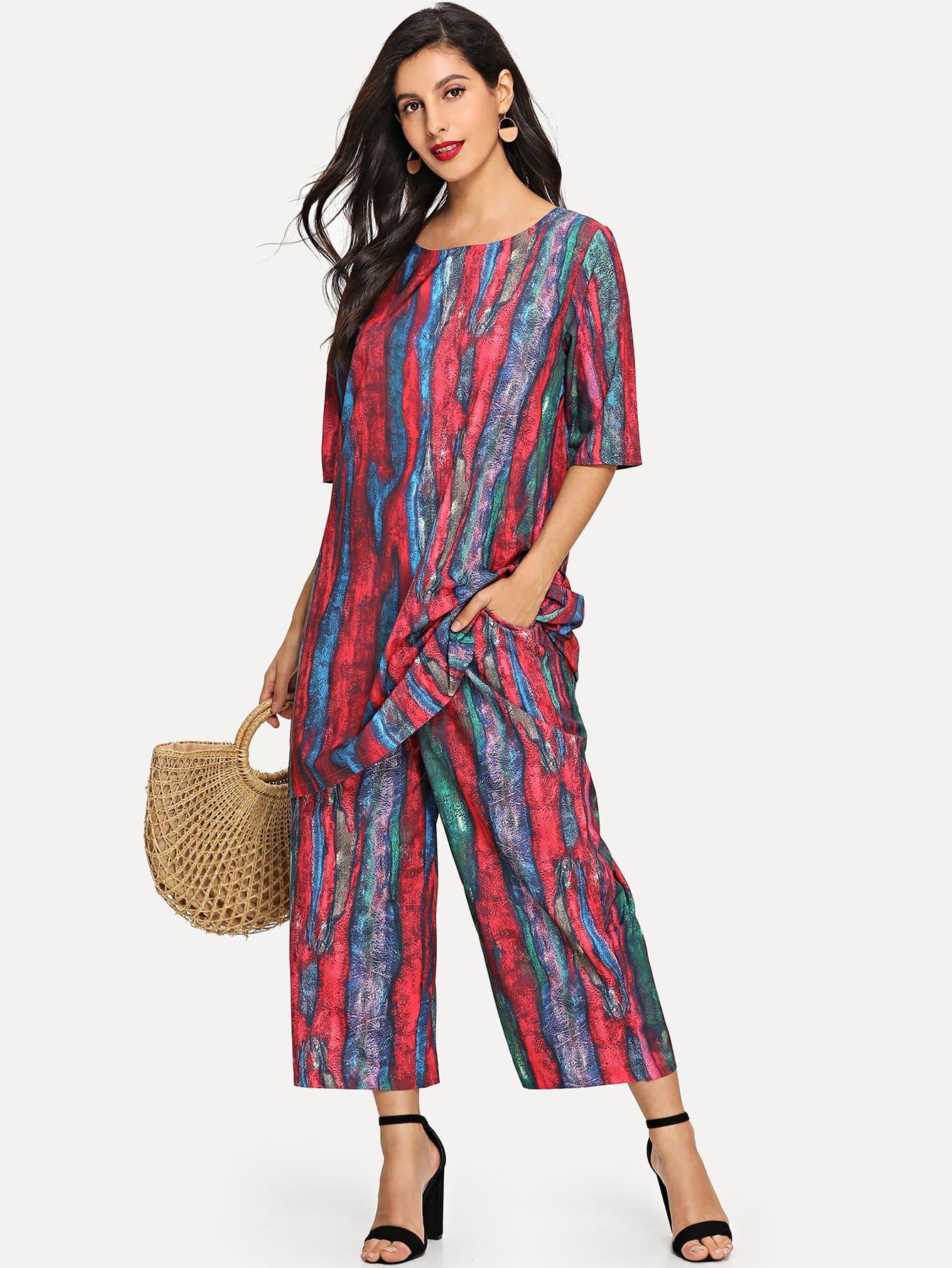Купить Цветная кусковая полосатая длинная рубашка и широкие ножные штаны, Jeane, SheIn