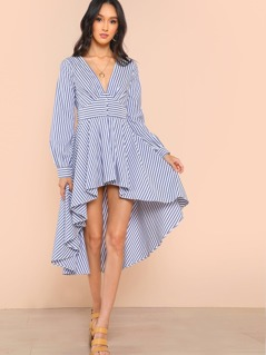 Long Sleeve Striped High Low Dress