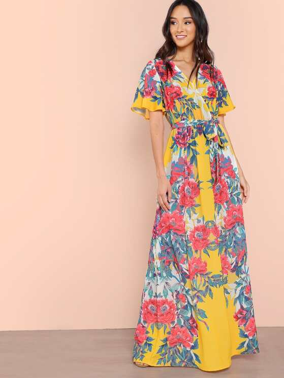 Maxi Dress with Belted Waist