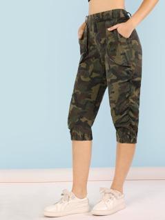 Camo Print Ruched Capri Utility Pants