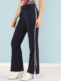 Elastic Waist Zippered Side Pants
