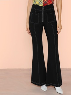 Zip Front Wide Leg Pant