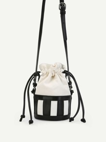 Striped Detail Bucket Bag
