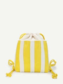 Block Striped Drawstring Backpack