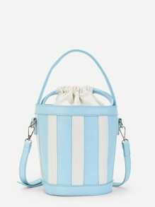 Block Striped Bucket Bag