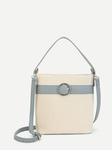 Contrast PU Buckle Shoulder Bag