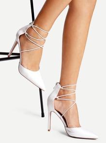 Criss Cross Strap Point Toe Heels