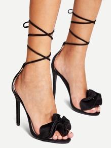 Lace Up Ruffle Decor Heeled Sandals