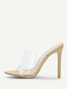 Clear PVC Heeled Mules