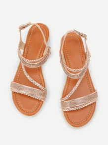 Plaited Strap Flat Sandals