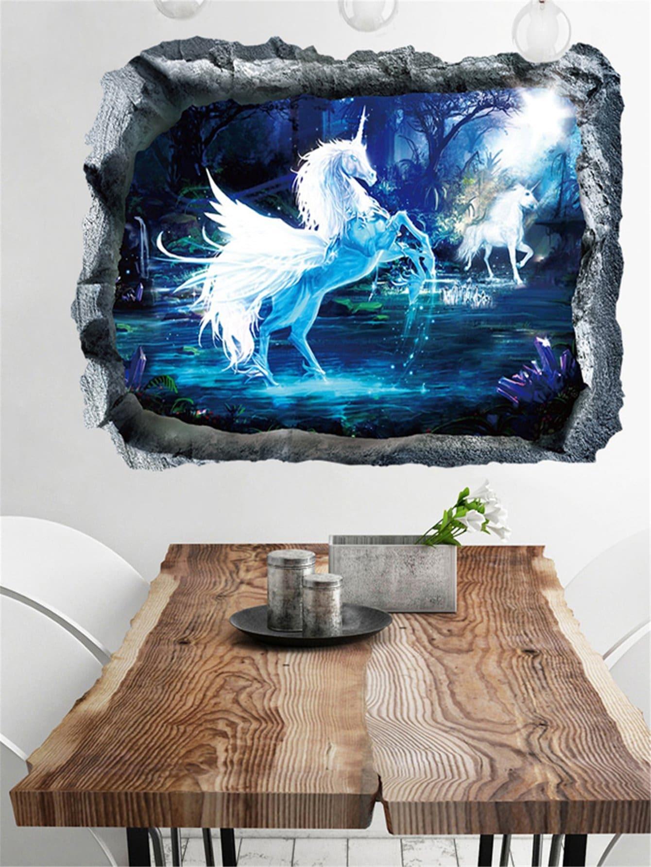 3D Unicorn Wall Sticker